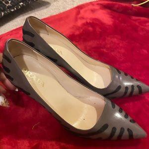 Prada grey pumps with Black stripes